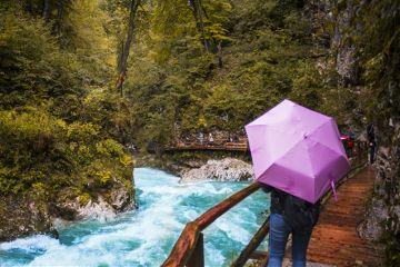 nature river umbrella tourists blue
