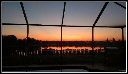 sunrise orange morning lake bright