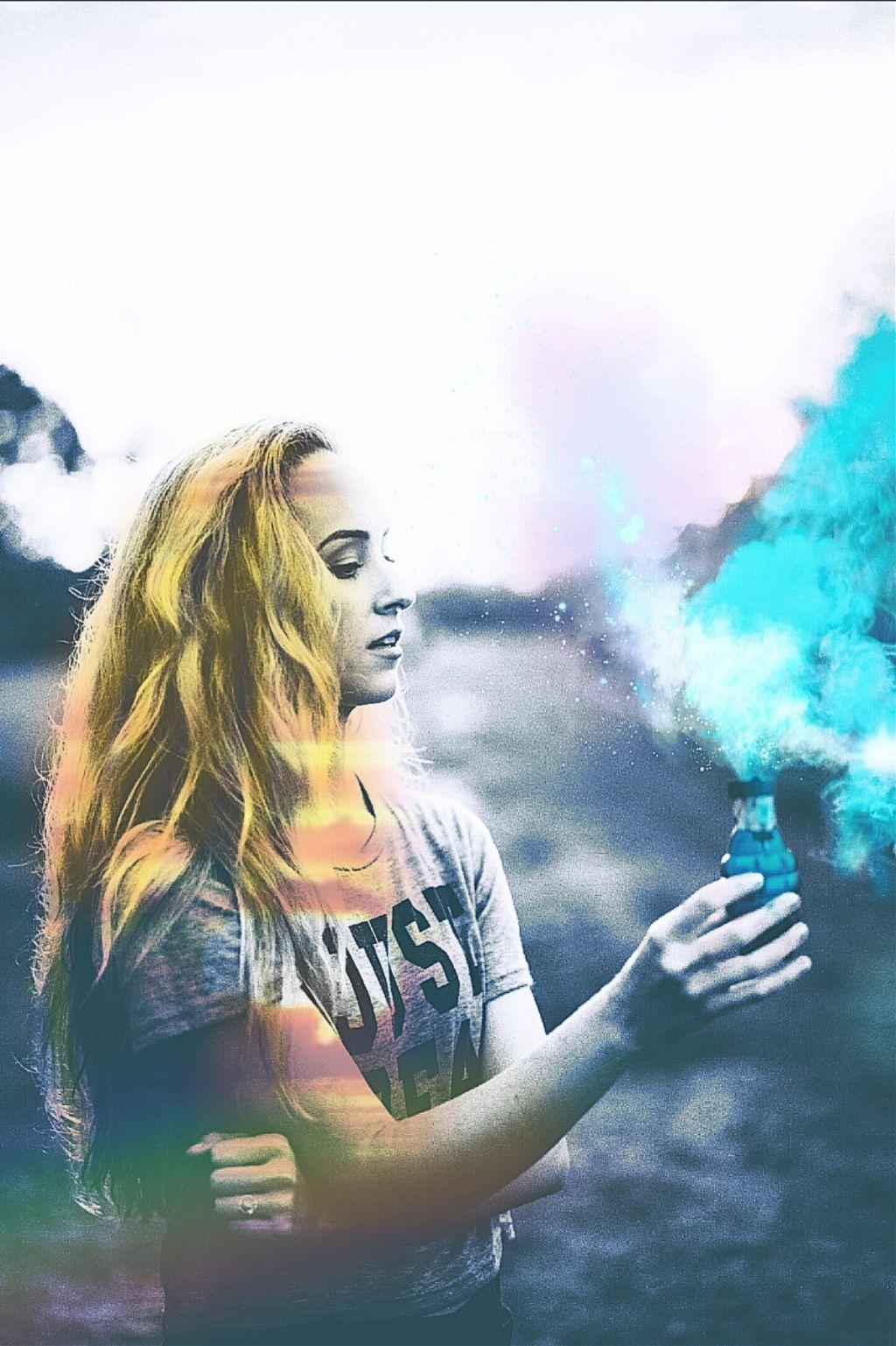 Tumblr Doubleexposure Girl Edit Rainbow Smoke Sunset