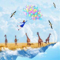 bluesky girraffe girlwithballoon surreal surrealist freetoedit