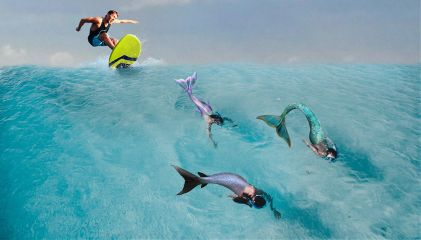 freetoedit mermaid surfing surf