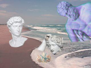 ancient greece sculpture surreal beach