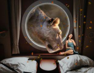 shipviewremix lion girl surreal surrealist freetoedit
