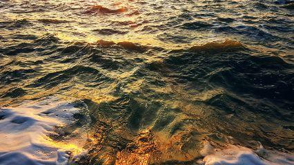sea reflection sun sunset wave