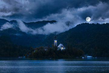 island church lake clouds travel