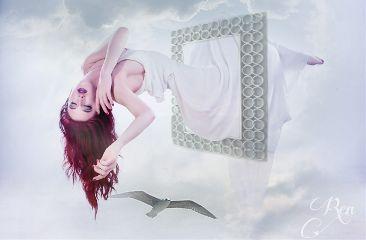 surreal girl frame bird flying freetoedit