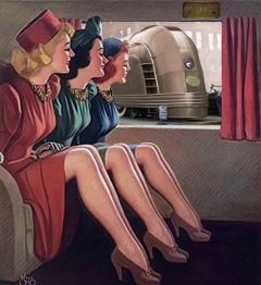 vintage retro women train myedit