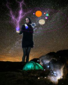 nightsky universe galaxy girl surreal freetoedit