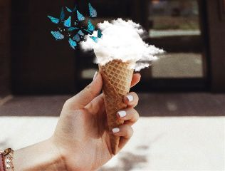 coneremix freetoedit butterflies clouds icecream