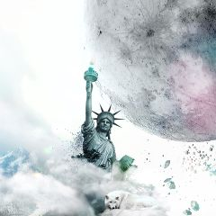 clouds moon destruction newyorkcity statueofliberty