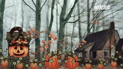 freetoedit pumkins house trees pumpkins