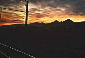 sunrise landscape railway