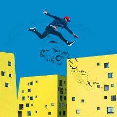 freetoedit yellow house jump boy