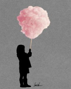 candyfloss littlegirl silhouette grey pink