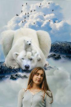 allingreyremix girl bear landscape surreal freetoedit
