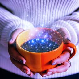 freetoedit coffee cup hands stars
