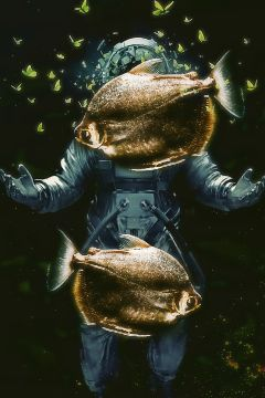 underwater piranha astronaut surreal surrealist freetoedit