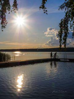 sunset lake scharmützelsee nature scharm