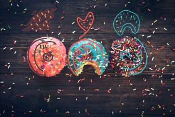 draw doodle colourful donuts🍩 freetoedit