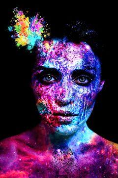 freetoedit remix colorful woman skull