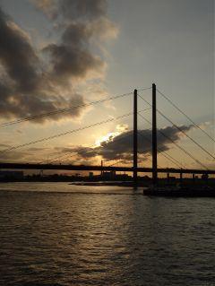 bridge sunset evening nofilter river