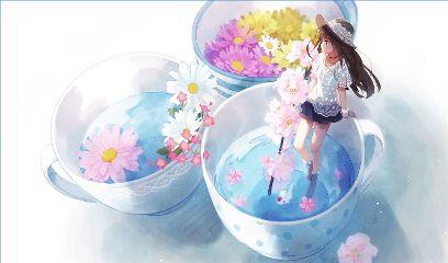 animegirl digitalart summer alone emotions