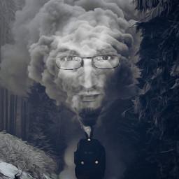 fantasy train blackandwhite winter interesting