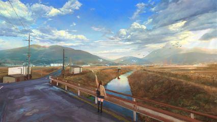animegirl alone travel scenery emotions