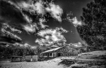 blackandwhite snow winter remembering house
