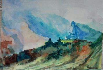 freetoedit mywatercolor myhand landscape buddha