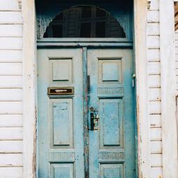 door blue town wood rustic freetoedit
