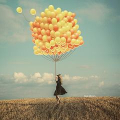 balloons yellow girl