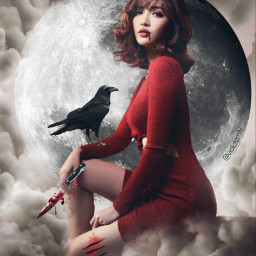 vampire creppy red girl badgirl freetoedit
