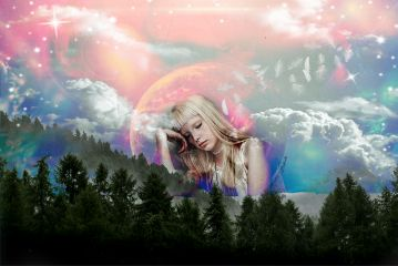 dream girl contrast colours sky freetoedit
