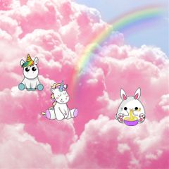 freetoedit unicorn clouds pink girly