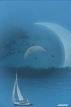 freetoedit dailyremix moonlight moon boat