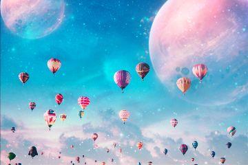 freetoedit madewithpicsart galaxy hotairballoon