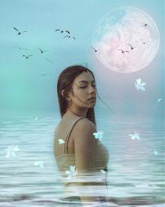 freetoedit girl myedit moon water