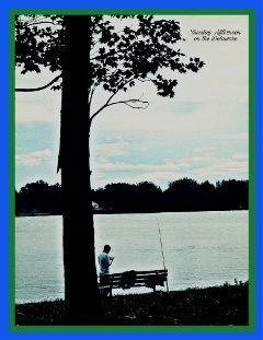 freetoedit trees youngmanfishing blueskyandclouds delawareriver