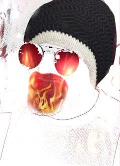 nobearddaystickerremix dailysticker hot flames mybeanie freetoedit