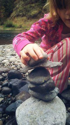 girl stackingrocks river rocks oregonlife freetoedit