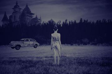girl nature car night blackandwhite freetoedit