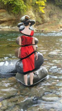 ladyinred ladyinredremix stackedrocks river doubleexposure freetoedit