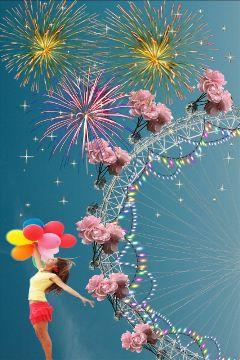 ferriswheelfun skyfirework girl balloons stars freetoedit