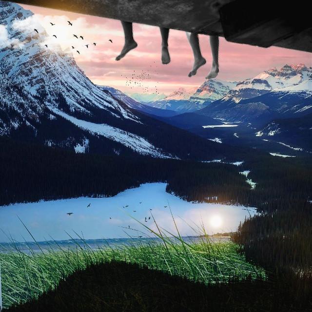 #art #feet #surreal #clouds #birds #water #sky #gateway #anotherworld #ocean #glare #sun #beautiful #demnsions #pa #picsart
