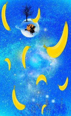 freetoedit stickeroftheday stickerofthedayremix bananas stars