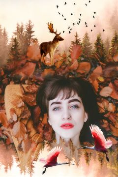 doubleexposure face girl autumn deer freetoedit