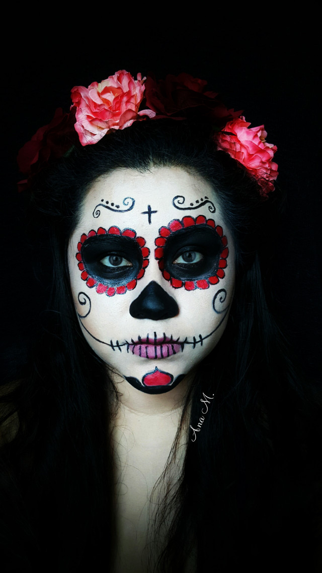 💀🎃_________ #catrina #halloween #halloweenmakeup #people #dayofthedead #diademuertos #colorful #flower #love #freetoedit