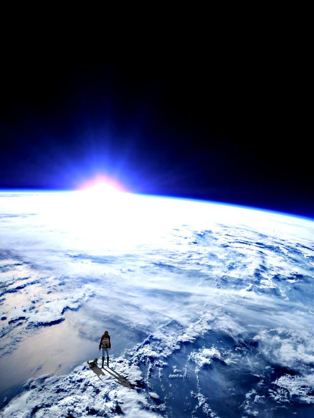 #earth #space #galaxy #surreal #woman #dog