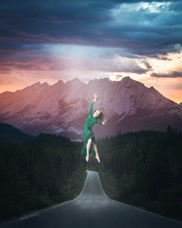 Instagram➡vio_emy     #floating #forest #freeway #mountain #sky #woman #myedit